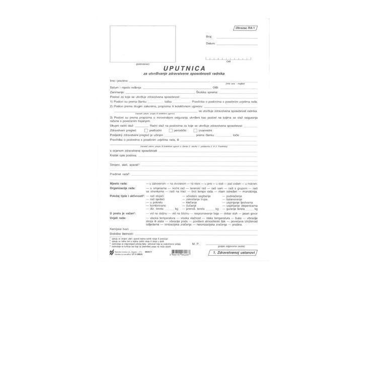 Uputnica za utvrđ. zdrav. sposobnosti radnika (RA-1)